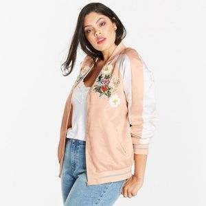 NWT Simply Be Embroidered Satin Bomber